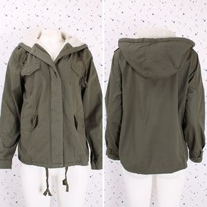 Fur lined Hooded Utility Military Jacket Olive